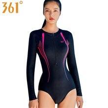 361 Long Sleeve Swimwear Female Bathing Suits Zipper Sports Swim Suit Wire Free Monokini Rash Guard Surf Swimming Bathers