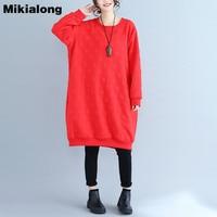 Mikialong Polka Dot Jacquard Hoodies Dress Women Casual Cotton Long Sleeve Sweatshirt Women Plus Size Oversized