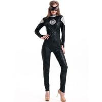 Deluxe השחור חתיכה אחת ארוך שרוולי צפצף אורך מלא סרט L15246 גיבור תלבושות Romper בגד גוף קוספליי Superhero סרטים