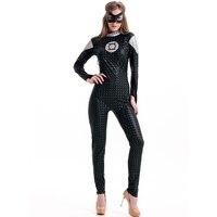 Deluxe Black One Piece Long Sleeves Full Length Pant Movie Cosplay Superhero Movies Super Hero Costume Romper Catsuit L15246