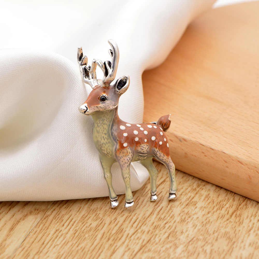 Muda Tulip Tiga Warna Kecil Cute Rusa Bros untuk Wanita Dolar Sika Pin Aksesori Fashion Perhiasan untuk Pesta Teman Hadiah