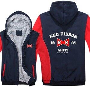 Image 1 - Dragon Ball Z Red Ribbon Army hoodies Cartoon Jacket Thicken Hoody Zipper Winter Fleece Dragon Ball Z Sweatshirt
