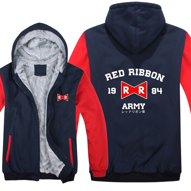 Dragon Ball Z Red Ribbon Army hoodies Cartoon Jacket Thicken Hoody Zipper Winter Fleece Dragon Ball Z Sweatshirt