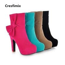 Cresfimix mulheres rua ocasional doce cor gravata borboleta de salto alto botas de senhora bonito rua bota botas femininas botas de lazer c2315