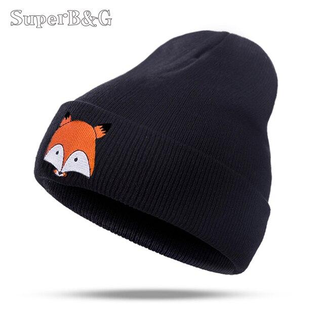 SuperB G sombrero caliente del invierno para las mujeres de punto para  mujer gorras niñas Fox patrón 8906276a376