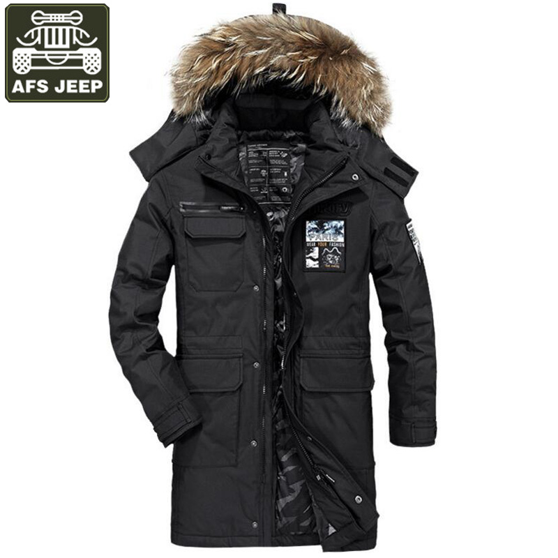 AFS JEEP Brand Winter Down Jacket For Men White Duck Down Parka Men Thick Warm Long Style Men Windbreaker Fur Hooded Jackets