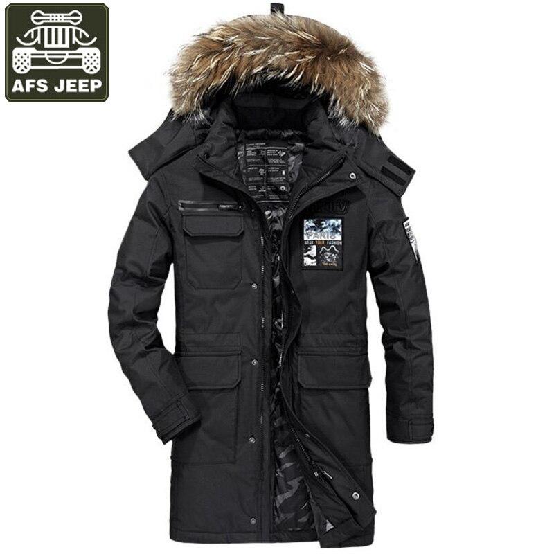 Afs джип бренд зимняя куртка-пуховик для Для мужчин белый парка-пуховик с утиным пухом Для мужчин толстые теплые длинные Стиль Для мужчин вет...