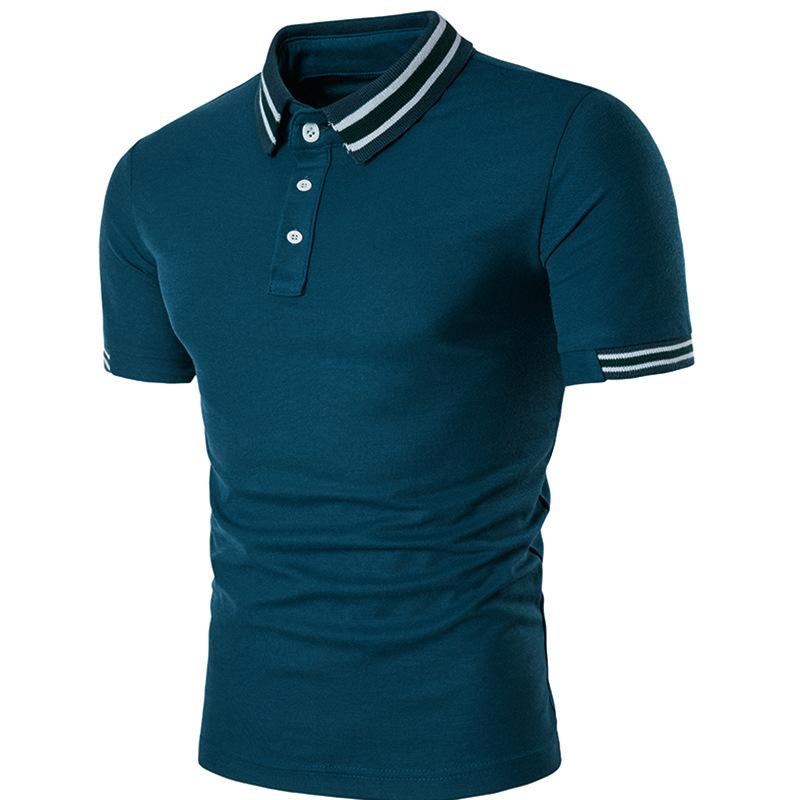 Solid Slim Fit Man   Polo   Shirt Neckline Stripe Casual Business Summer Short Sleeve Men's   Polos   Shirt Cotton Breathable Tops B99