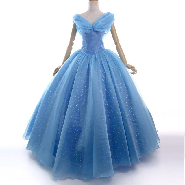 95392971a04e Movies cinderella 2015 costume adult princess cosplay party Prom Dress  halloween costumes for women fluffy blue dress custom