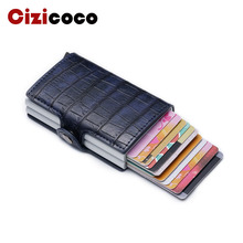 купить New Metal Card Holder RFID Blocking Aluminium Leather Business ID Credit Cardholder Men Slim Double Case Wallet Purse дешево