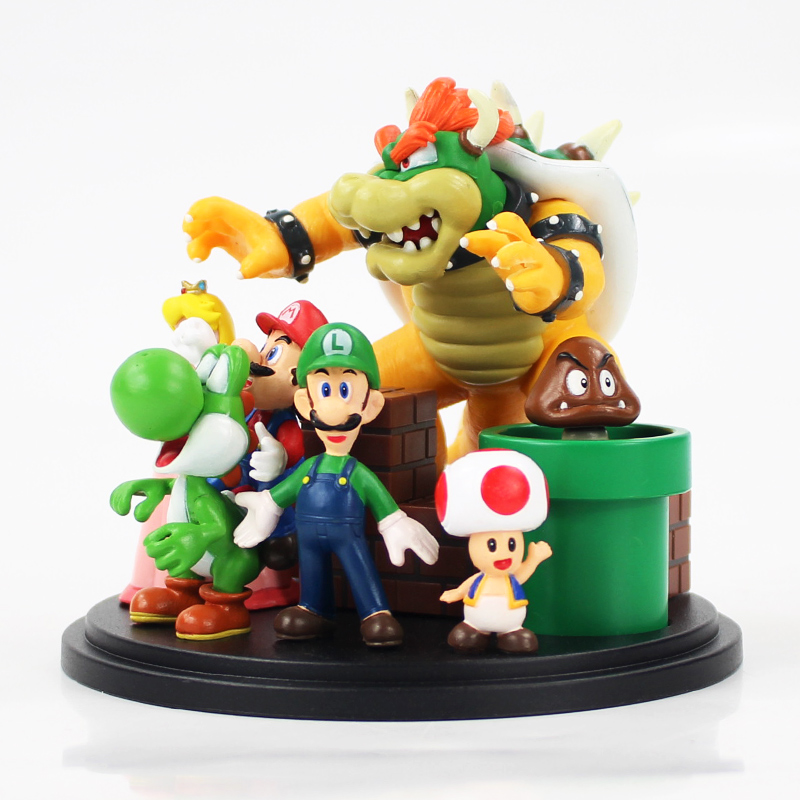 7pcs/lot 10cm Super Mario Bros Bowser Princess Peach Yoshi Luigi Toad Goomba PVC Action Figure Model Doll Collection Kids Toy 1
