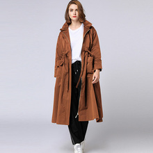 Plus size Women's Elegant long coat Lotus leaf collar Loose Zipper trench coat Large size ladies' Early autumn winter new XL-4XL spring autumn new big size long sleeve lace hooded trench coat large size ladies draw string loose lace elegant coat red black