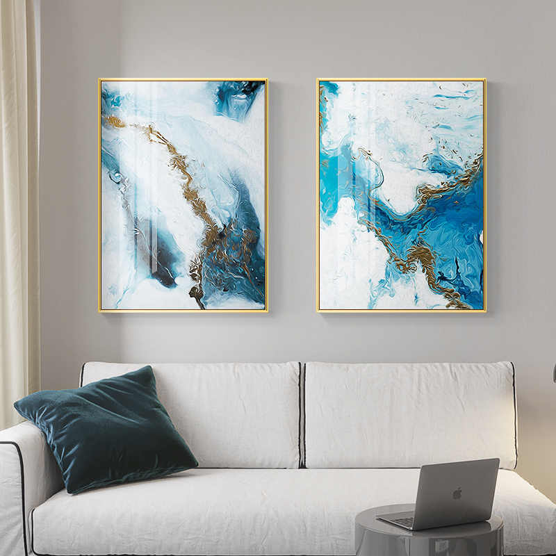 Nordic Abstract Color Splash Blue Gold Canvas Painting ...