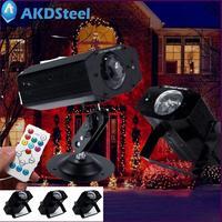 AKDSteel Water-print RGBW 12 W אורות במה מנורת LED 7 צבעים חג המולד מציב בחירה אוטומטית שליטה קולית (עם בקר)