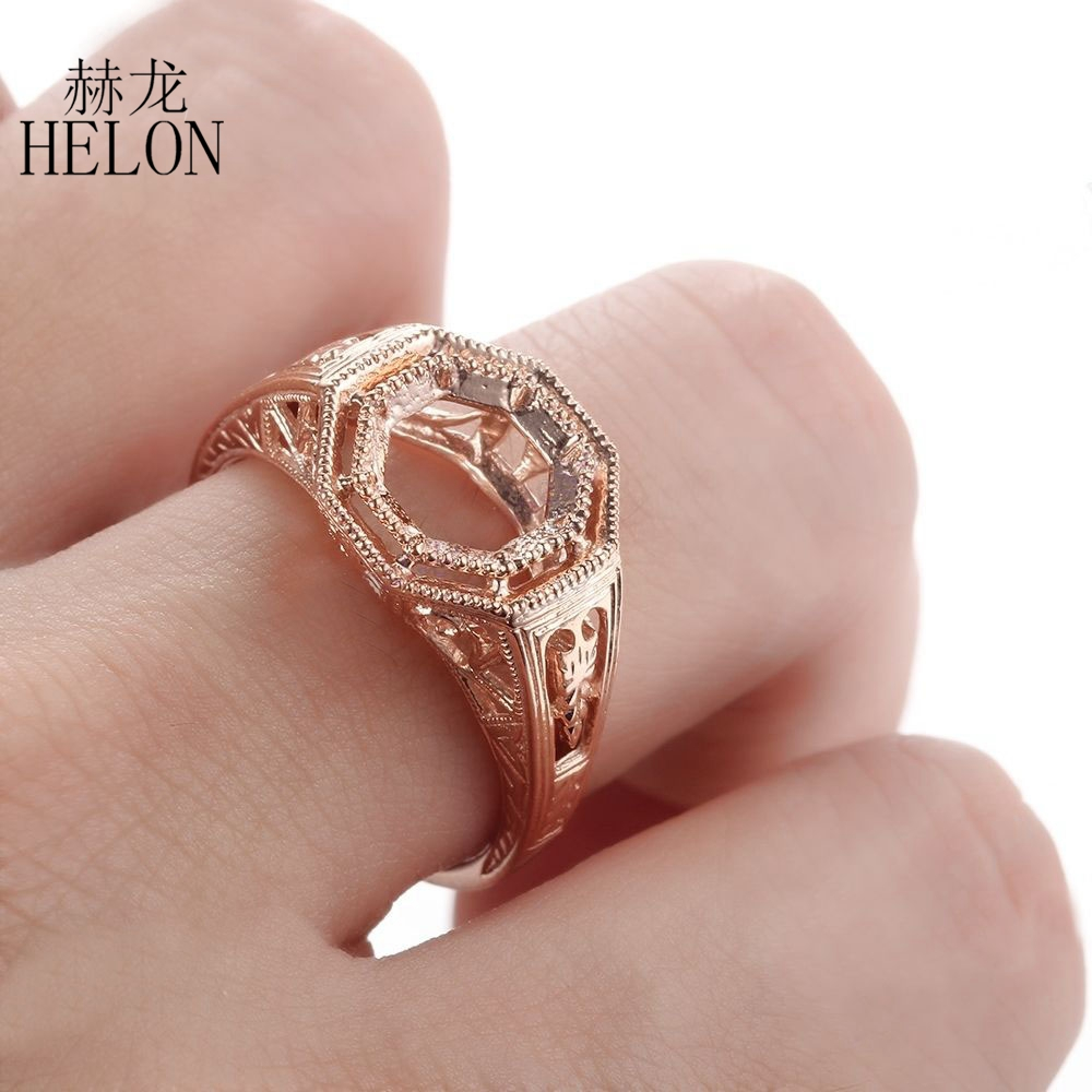 HELON Milgrain 8mm Round Solitaire Engagement Wedding Semi Mount ...