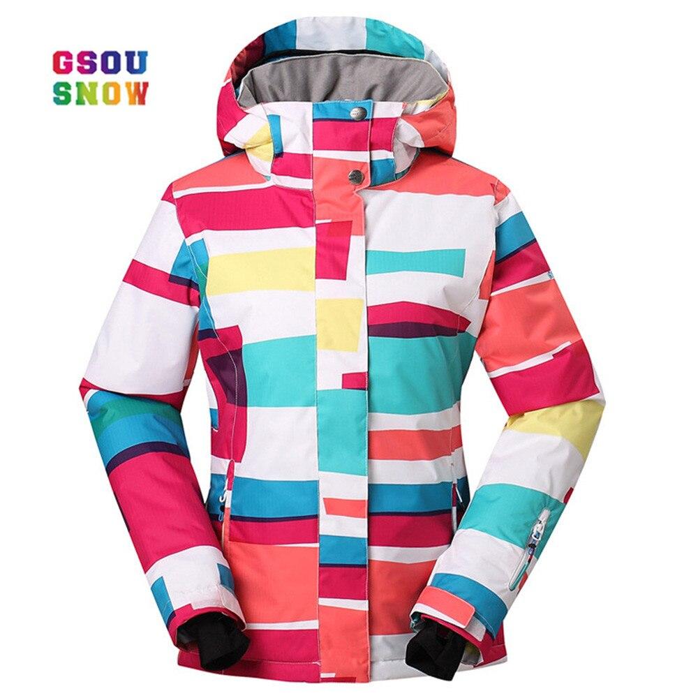 GSOU neige veste de Ski femmes en plein air coupe-vent snowboard manteaux imperméable mode coloré-30 degrés femme vestes de Ski nouveau