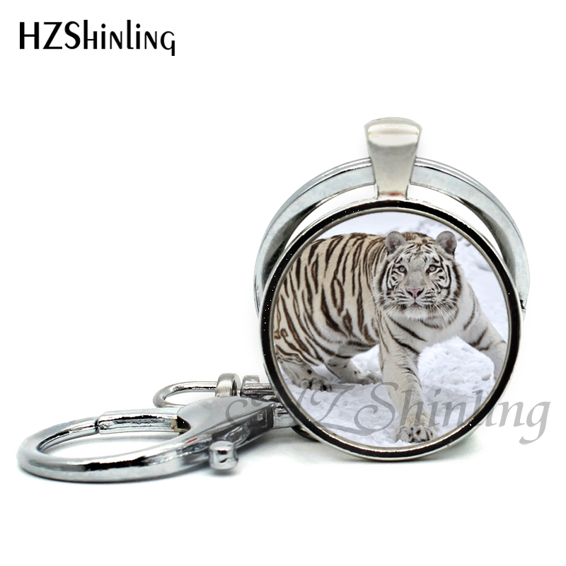 2017 new arrival black white tiger pendant keychains wild animalall
