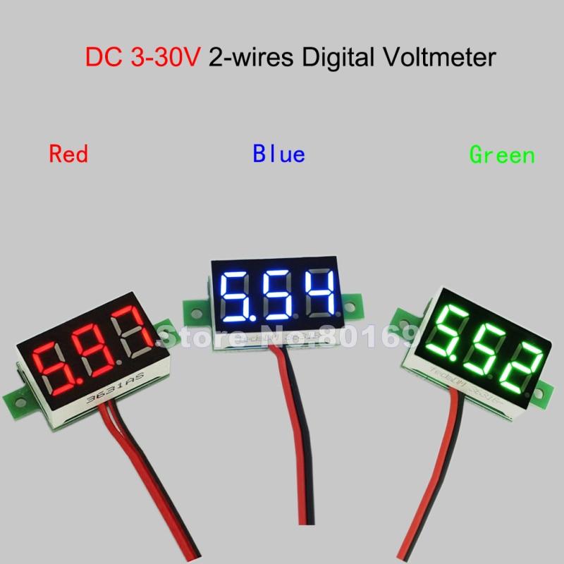 5V9V12V24V Two Wires Digit Voltage Meter 0.36 DC3.00-30V Blue LED Display Battery Tester Digital Voltmeter
