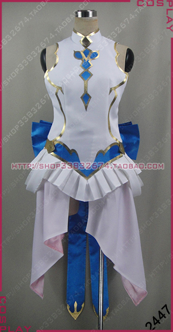Anime Tales of Zestiria female blue Cosplay Costume with socks and gloves