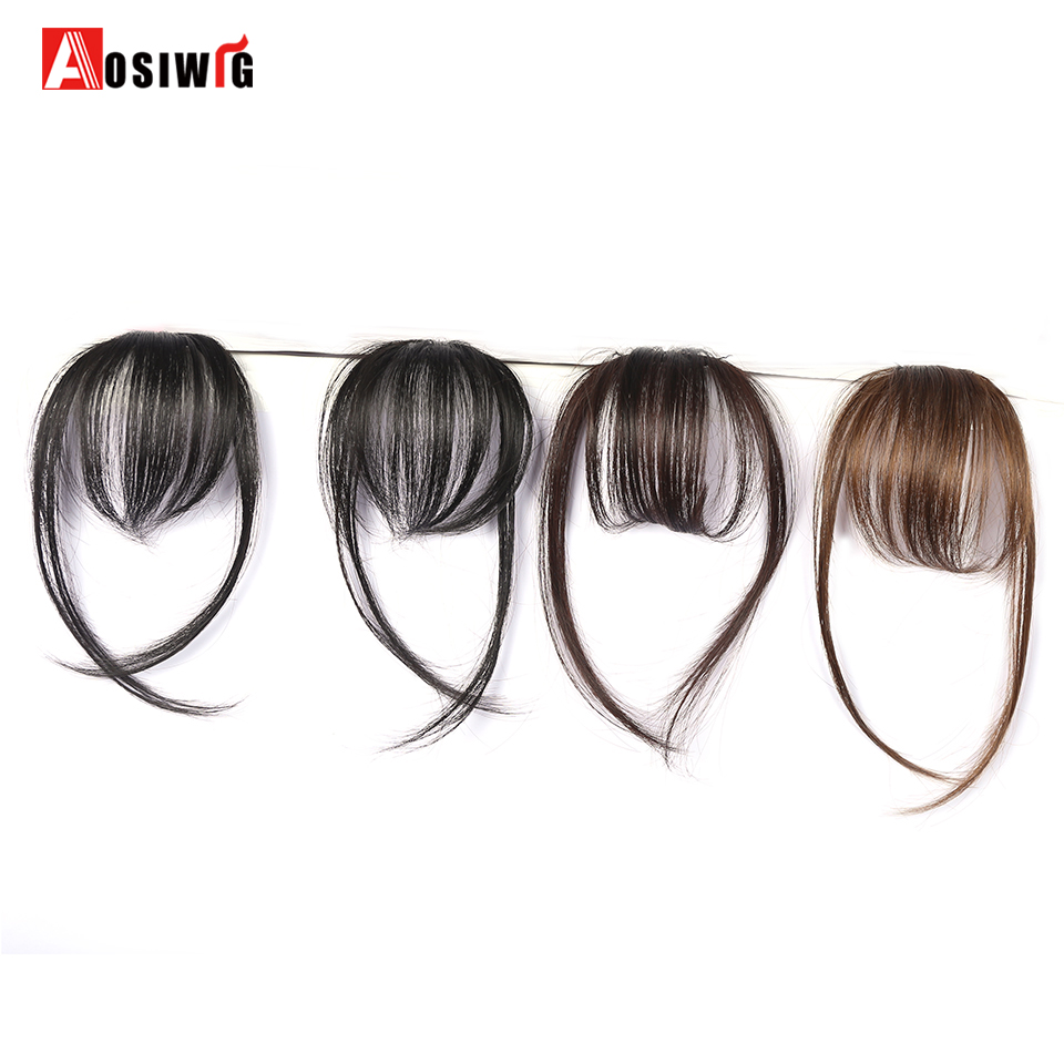 AOSIWIG Fake Long Blunt Bangs Hair Extension Synthetic False Hair piece Natural Fake Hair Bangs for Women High Temperature Fiber
