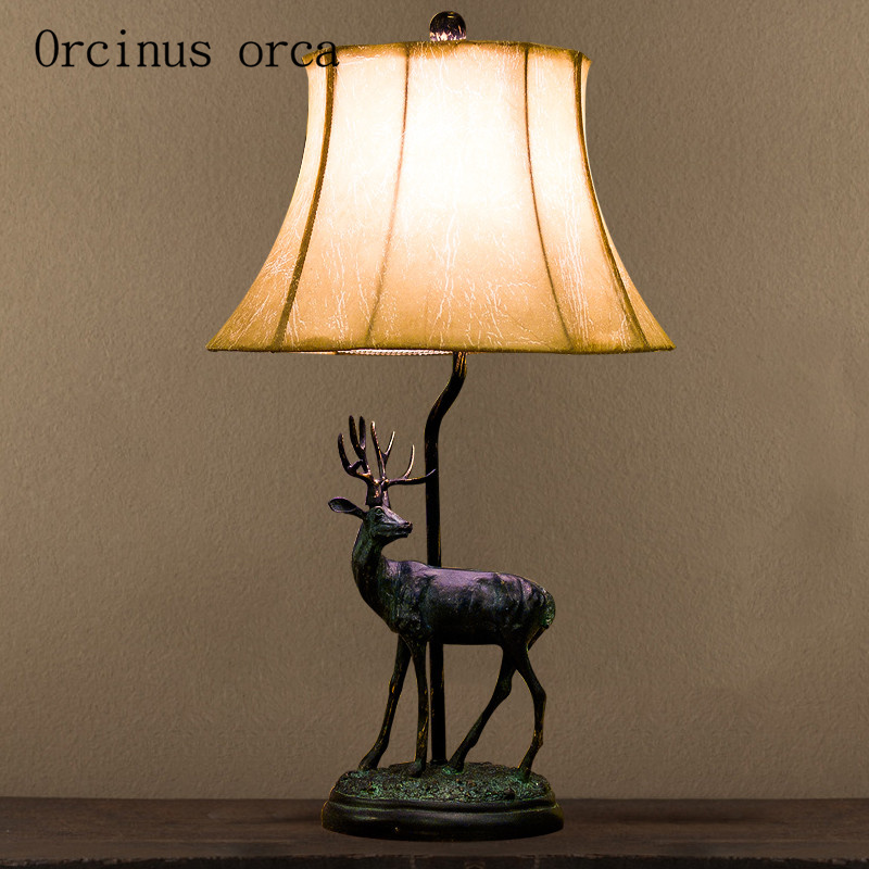 Trend Mark Amerikaanse Herten Vormige Lamp Slaapkamer Bedlampje Dorp Retro Eenvoudige Europese Stijl Chinese Stijl Woonkamer Lamp Lamp
