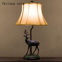 Lámpara con forma de ciervo americano  lámpara de noche para dormitorio  pueblo  retro  simple  estilo europeo  chino  lámpara para sala de estar