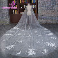 2017 Ivory Wedding Veil 3X3.5m Long Lace Appliques Mantilla Cathedral Bridal Veil Wedding Accessories Veu De Noiva Real Photos