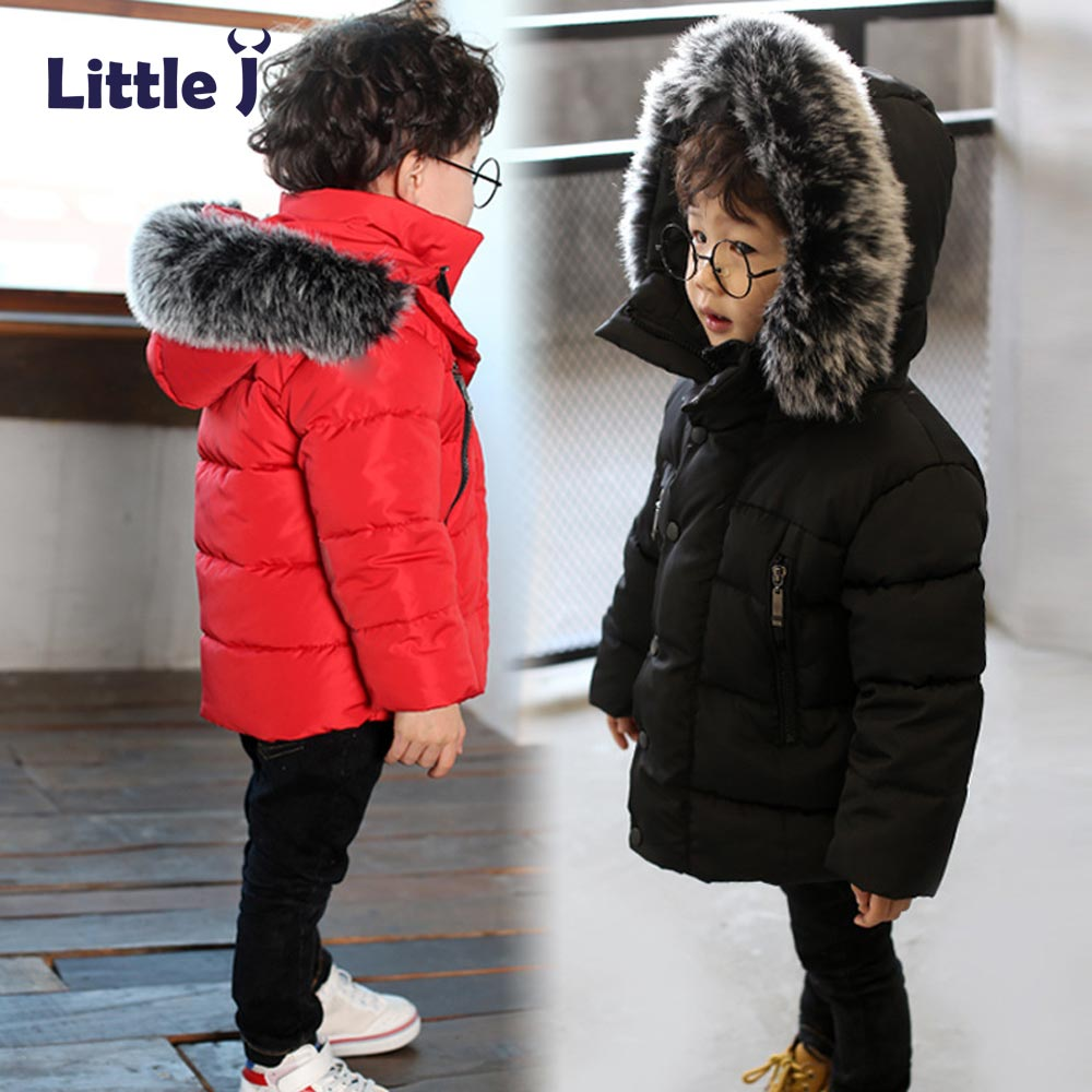 Little J Kids Thick Cotton Jacket Boys Girls Winter Padded Coat Warm Fur Hooded Parka Children Outerwear Child Clothing Chaqueta 2018 winter children boys parka jacket kids thicken warm 90% cotton camouflage hooded coat baby boys girls casual outerwear