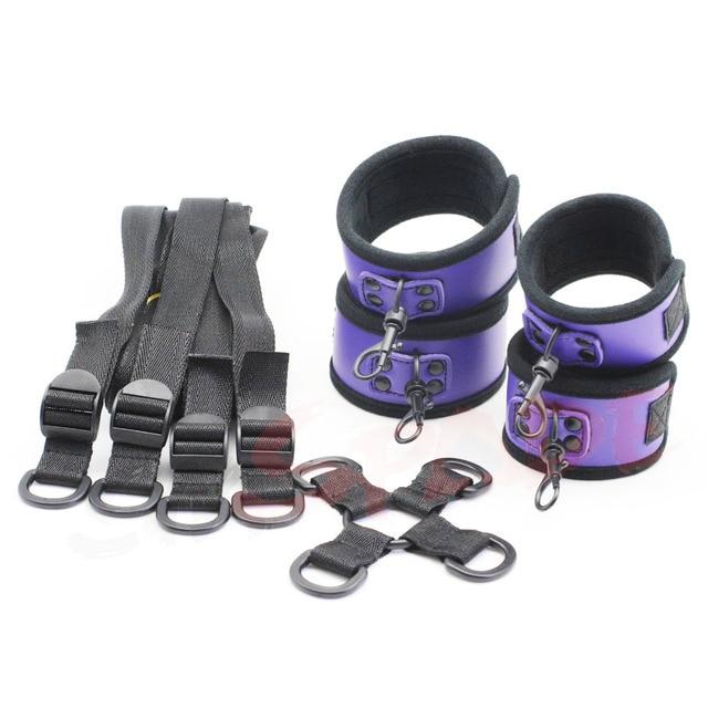 Purple PU bondage restraint kit,adult sex restraint underbed restraitns kit,sex handcuffs,anklecuffs sex products for couples