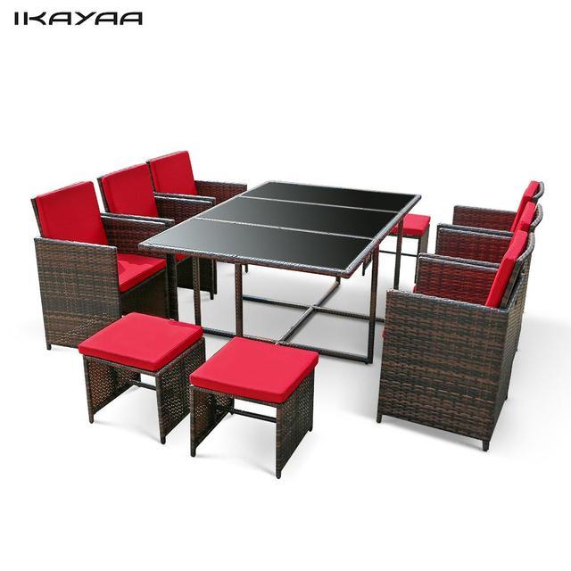 IKayaa 11PCS/10 Seater Rattan Patio Garden Dining Set Furniture Cushioned Outdoor  Dining Table