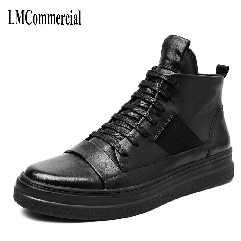 Black male high shoes trend of Korean young men leather shoes boots short warm in winter cowhide men casual boots breathable 2017 new spring imported leather men s shoes white eather shoes breathable sneaker fashion men casual shoes