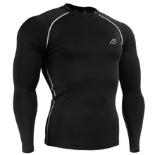 Men s Pure Color Base Layer Tights T Shirt Fitness Compression Black White Long Sleeves Shirt