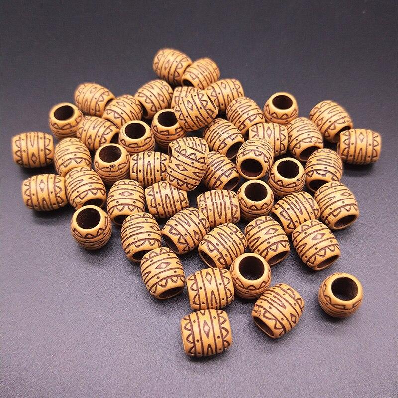 50pcs 11x10mm Large Hole Barrel Beads Plastic Imitation Wood Retro Ripple Craft Beads DIY Making Jewelry Accessories(China)