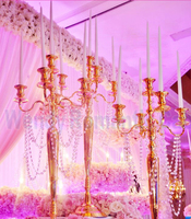 90cm Tall Table Centerpiece Gold Candelabra candle holder candlestick Wedding props 10pcs/lot