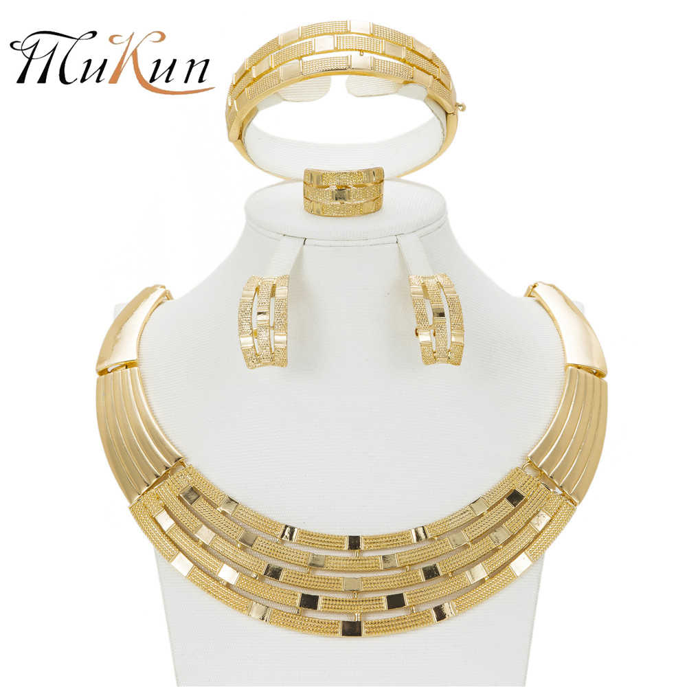 MUKUN Dubai Gold Farbe Schmuck Sets Für Frauen Afrikanische Perlen Halskette Ohrringe Armband Ringe Party Hochzeit Braut-accessoires
