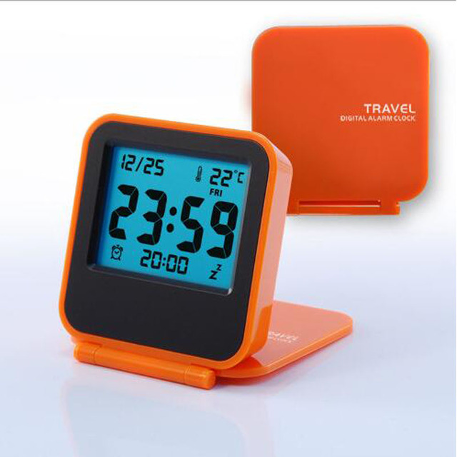 2017 New Modern Snooze Alarm Clock Led Digital Desktop Battery Operated Travel Watch Thermometer 5 Color