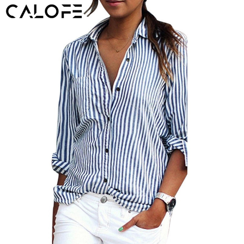 CALOFE Shirts Women Striped Long Sleeve Casual Blouse Shirts Female 2018 New Spring Fashion Female Blue Ladies Clothes Top