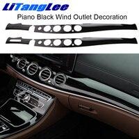 Litanglee For MERCEDES E300L E200L Piano Black Air Outlet Decoration Sticker Interior Center Console Protective Film