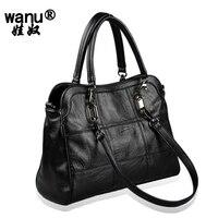 2017 NEW Shoulder Bags Women Top Handle Bag Leather Sheepskin Female Bag Message Black Tote Bag