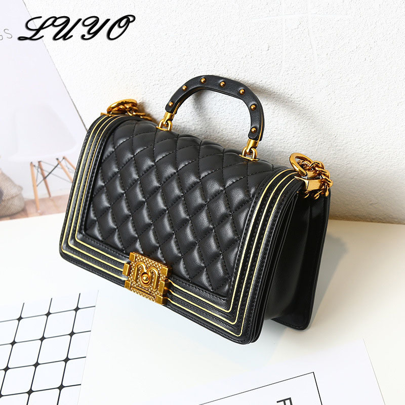 цены на LUYO Small Leather Chain Luxury Handbags Women Bags Designer Crossbody Bags For Women Channel Messenger Bag Famous Brand Female