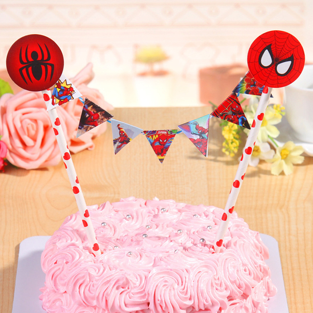 Straw String Banner Happy Birthday Spiderman Cake TopperBoy Super Heros Party Decoration