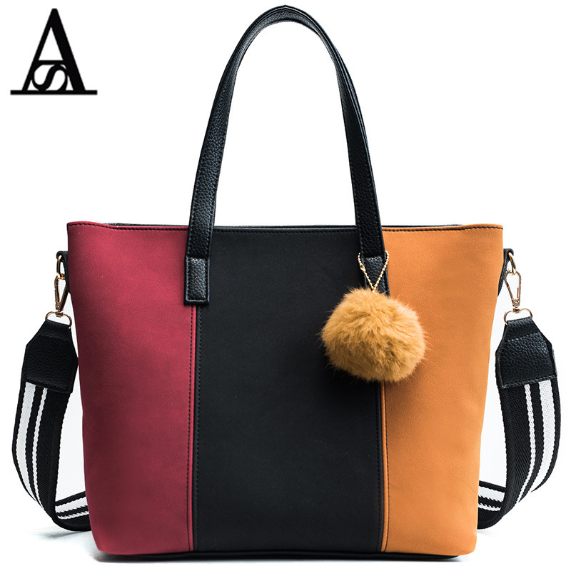 AITESEN Leisure Woman Handbag Bump Color Child Master Pack Lady Fur Ball Decoration Single Shoulder Bag David Jones Bolsos Mujer ...