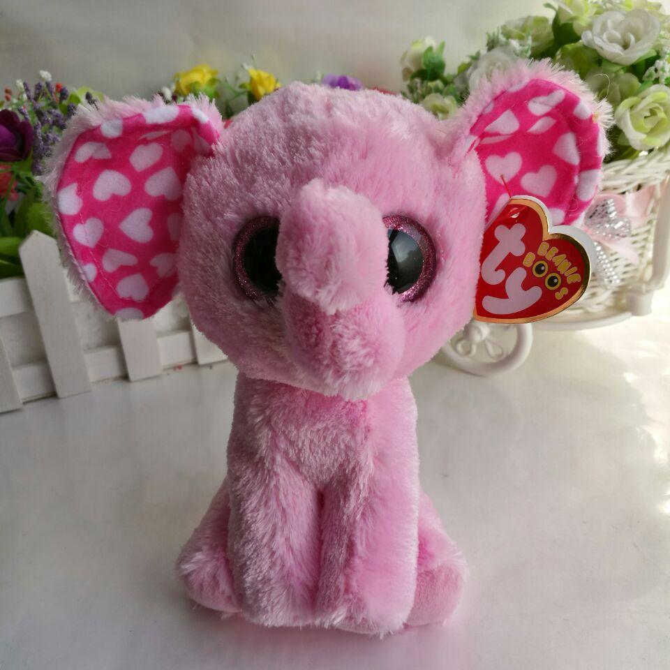 Sugar Pink Elephant 1pc 15cm 6 Big Eye Ty Beanie Boos Plush Toys