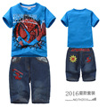 Retail 2016 New Children summer clothing set Boys Spiderman sport suit kids casual set short sleeve T-shirt and jeans, MS0060