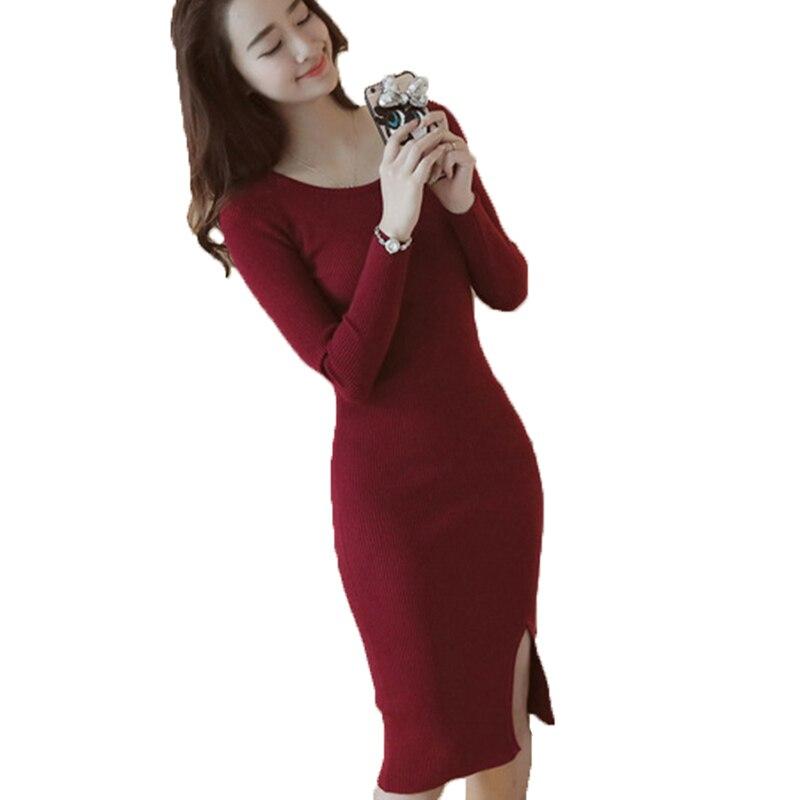 Women Winter Dress 2017 Knitted Dress O-neck Long Sleeve Women Sweater Dress Sweaters Pullovers Plus Size Women dresses yp0530