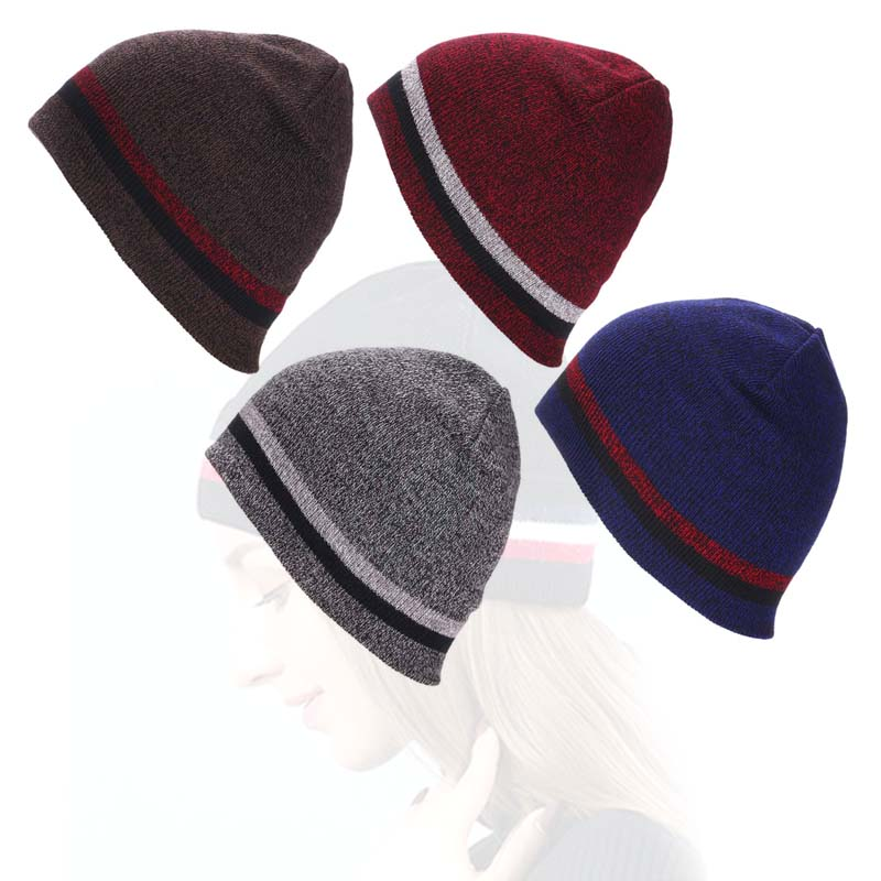Short Striped Contrast Acrylic Cap Slouchy Thick Knitted Beanie Hat for Autumn Winter FS99