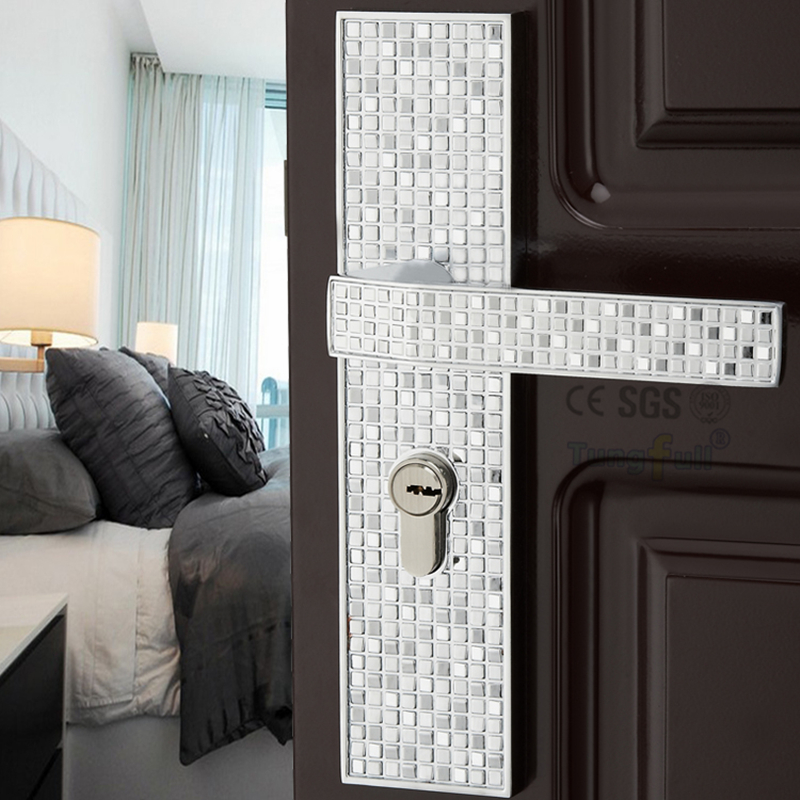 ФОТО Fashionable Mosaic Pattern Handles Design Copper Core Hardware Split Handle Lock