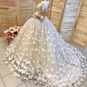 Image 2 - فستان زفاف بفراشات منتفخ وحفلات زفاف في دبي فساتين زفاف مخصصة بأكمام طويلة vestido de noiva robe de mairee
