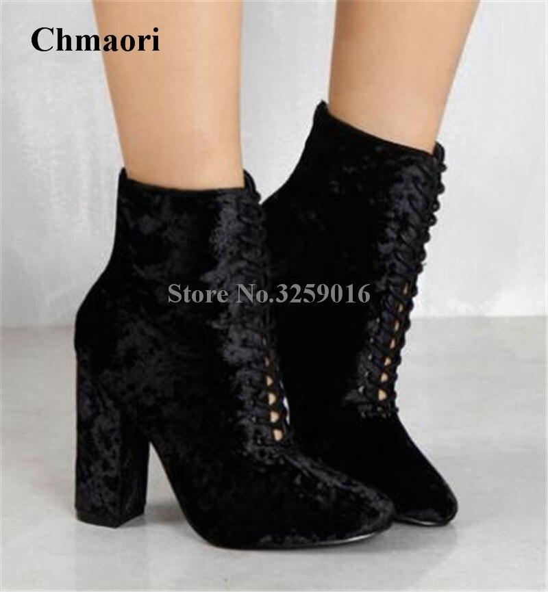 Women Pointed Toe Black Velvet Lace