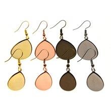 10pcs 13x18mm 18x25mm Copper Water Drop Blank Earring Hook for Jewelry Findings Ear Base Cabochon Settings DIY Jewelry Making